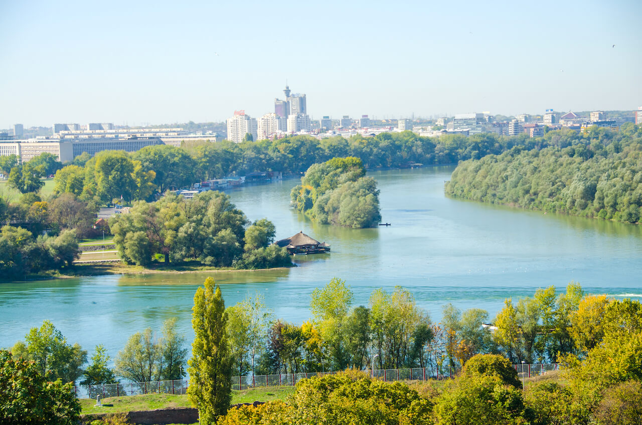 Sava and Danube river in Belgrade Serbia